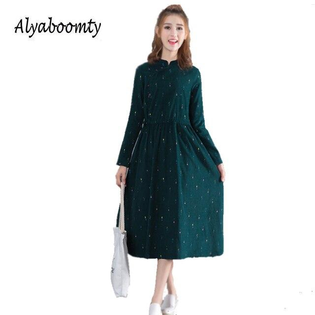 fe8ca1751 Nuevo primavera otoño Mori chica Maxi vestido largo cuello de pie PANA mujeres  Vestidos verdes manga