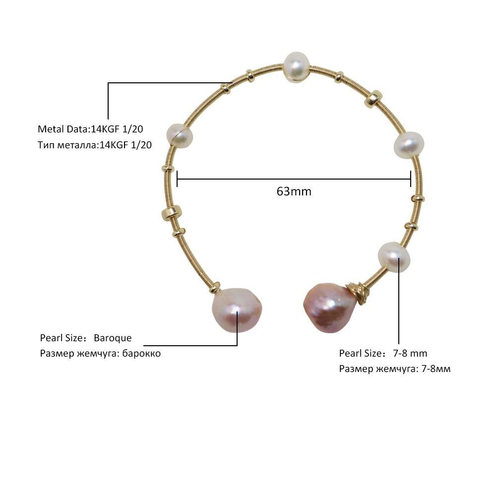 Nobuer 14K Gold Real Pearl ձեռնաշղթաներ `7-8 մմ - Նուրբ զարդեր - Լուսանկար 2