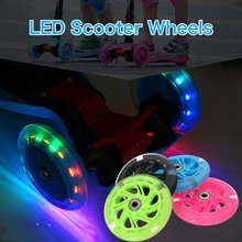 80mm Scooter Wheel LED Wheel Flash Light Up Wheel with 2 ABED-7 Bearings for Mini Micro Scooter 4 Colors 2 pieces lot 88a 100mm scooter wheels with bearings alloy steel wheel hub high elasticity and precision speed skating wheel a116