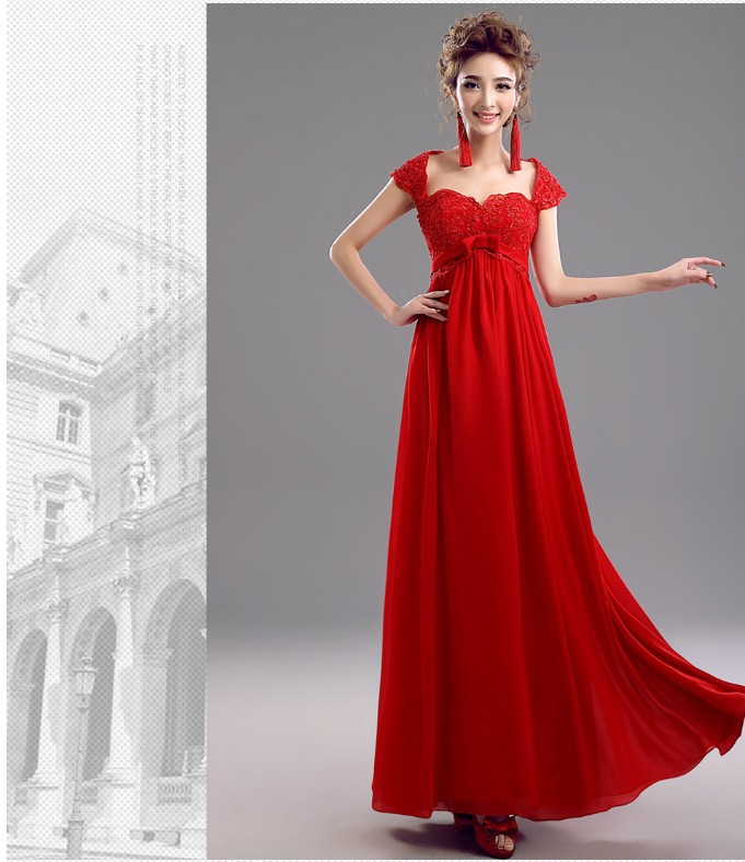 2016 Sweatheart Lace Up Empire Elegant Long Red Evening Dress For