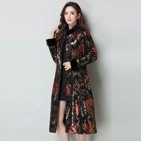 Осенне-зимнее кожаное пальто с принтом, женская модная куртка-пуховик из овечьей кожи, длинное рельефное пальто из меха норки