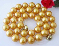 AAA 17 9MM ROUND GOLDEN FRESHWATER PEARL NECKLACE MAGNET AAA