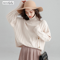 MOVOKAKA Sweaters Winter New Sweater Vintage Turtleneck Womens Coat Thick Warm Oversized Sweater Turtleneck Women Loose Pullover