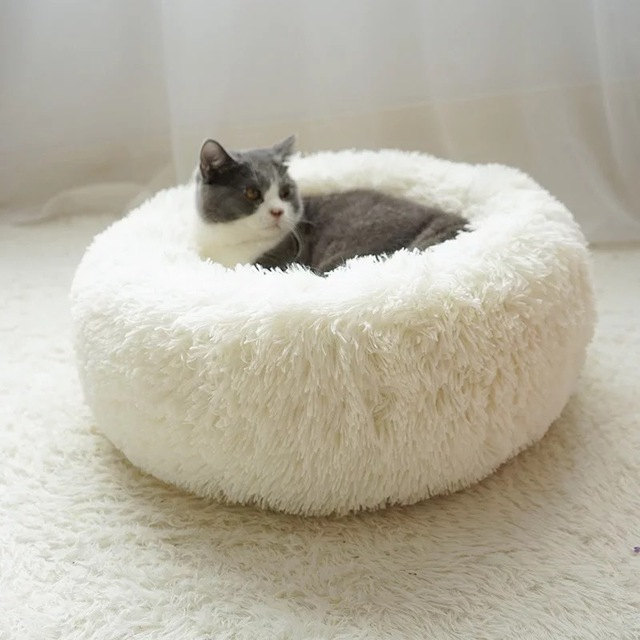 Long Plush Super Soft Pet Bed Kennel Dog Round Cat Winter Warm Sleeping Bag Puppy Cushion Mat Portable Cat Supplies 46/50/60cm 4