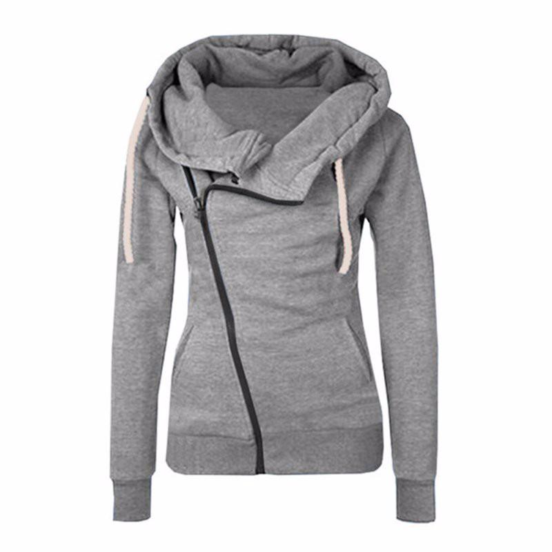 2016 New Women Sweatshirts Solid Color Hooded Jacket Long Sleeve Womens Hoodie Zipper Fa ...