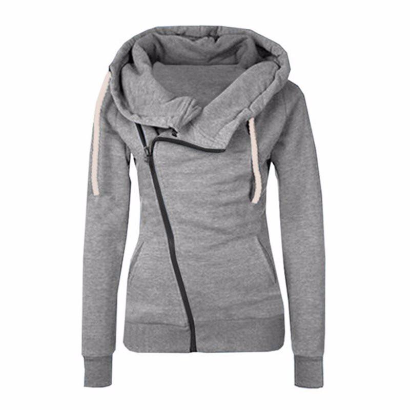 2019 Special Offer Panda Moletom New Women Sweatshirts Solid Color Hooded Jacket Sleeve Women's Hoodie Zipper Fall Winter Coat