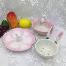 Baby Pink Rabbit Series Rice Bowl Ceramic Cartoon 3D Animal Plate Soup Bowl Cute Pinky Kids & Buy ceramic baby bowl and get free shipping on AliExpress.com