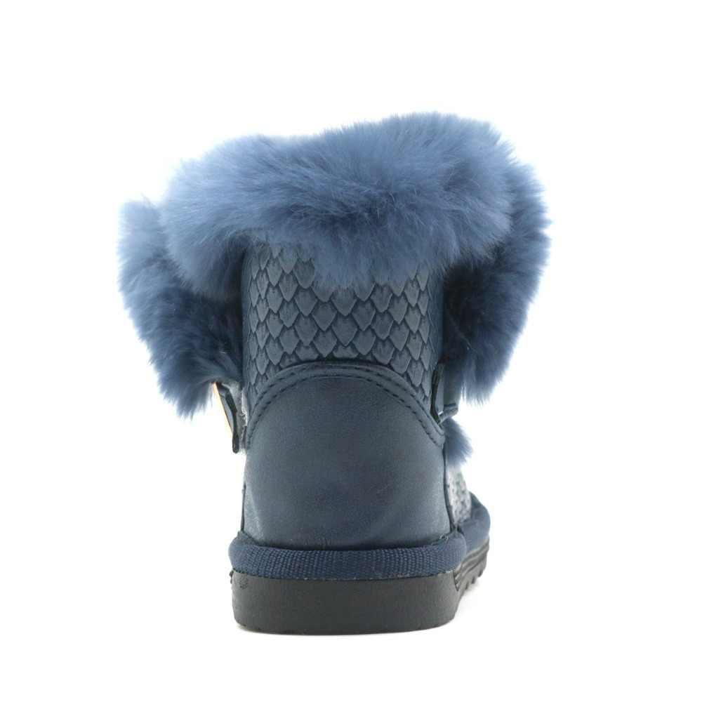 Apakowa Nieuwe Peuter Meisjes Winter Laarzen met Echt Bont Versieren Mode Meisjes Laarzen Pluche Waterdichte PU lederen Winter Schoenen