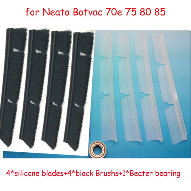 9 pcs / lot 4*silicone blades+4*black Brushs+1*Beater bearing Replacement for Neato Botvac 70e 75 80 85 Vacuum Cleaner Parts 4x silicone blades 4x brush 1x beater bearing replacement for neato botvac 70e 75 80 85 automatic vacuum cleaner robots