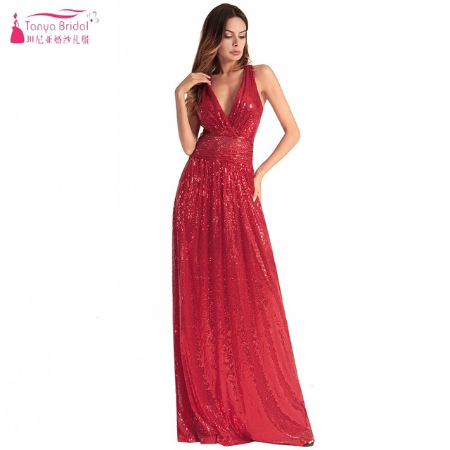 a5a5851301f V Neck Long Bridesmaid Dresses Red Sequins Backless Cheap Hot Wedding Guest  Party Dress Pink Bridesmaids Gown DQG524