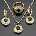 Magnificen Imitado Rodada Verde Esmeralda Banhado A Ouro Conjuntos de Jóias Para Mulheres Colar Pingente Anéis Brincos Caixa de Presente Livre