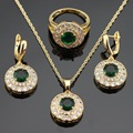 Magnificen Round Green Imitated Emerald  Gold Plated Jewelry Sets For Women Necklace Pendant Rings Drop Earrings Free Gift Box