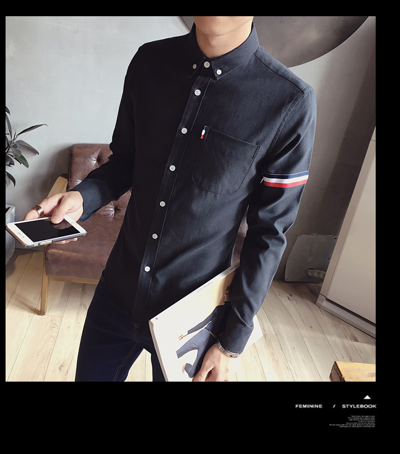 2017 New autumn men's casual tops brand shirt striped Strip decorate cotton men fashion solid color long sleeved Shirts M-XXXL 76