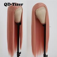 QD Tizer ורוד ארוך ישר שיער תחרה מול פאת Glueless חום עמיד סינטטי תחרה מול פאה עם קומבס & רצועות