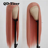 QD-Tizer Pink Long Straight Hair Lace Front Wig Glueless Heat Resistant Synthetic Lace Front Wig With Combs&Straps