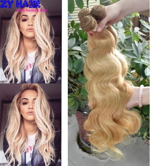 Перуанские Волосы Красота Плюс Aliexpress Тело Перуанский Волна #27 Блондинка 3 Пучки Благодати Компания Волос 8а Перуанские волосы с закрытие