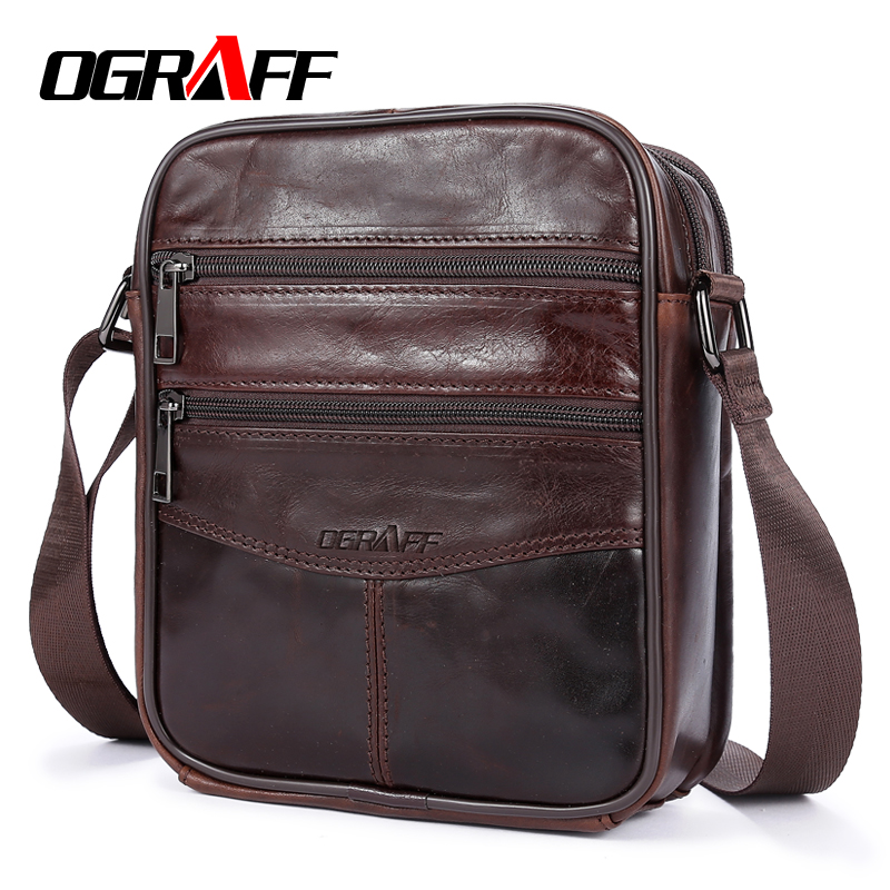 OGRAFF Men Bag Small Shoulder Bags Handbags Genuine Leather Bags Men Messenger Cross Body Office Bags For Male Luxury Designer ograff bag men genuine leather men messenger bags handbags famous brand designer briefcases leather crossbody bags men handbag