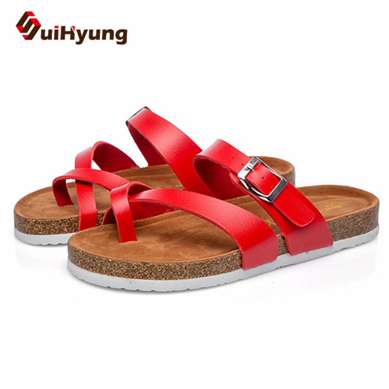 Suihyung Summer Women Slippers Fashion Design PU Leahter Beach Slippers Slides Non-slip EVA Cork Bottom Female Sandals Flip Flop suihyung design new women and men summer flat shoes hit color breathable hollow beach slippers flips non slip unisex sandals