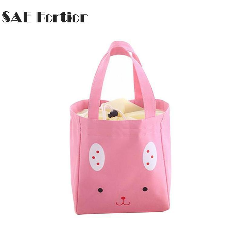 Cartoon Rabbit Canvas Insulated Lunch Bag Kids Thicken Travel School Lunch Bags Thermal Food Rabbit Insulated Bag YYR9742