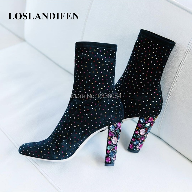 LOSLANDIFEN 2018 Brand New Women Ankle Boots Celebrity Shoes Crystal Embellished Heel Black Nubuck Leather Short Booties Botas