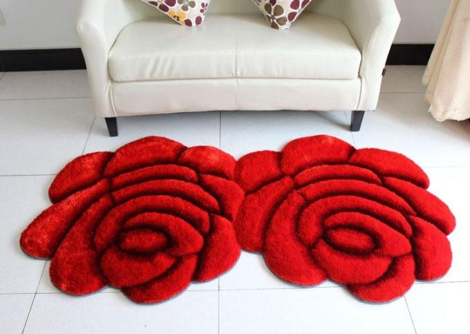 Объемный ворсистый круглый ковер с объемным цветком, коврики для дома, гостиной, свадьбы, тапеты, ворсистые ковры, толстые круглые ковры с цветочным рисунком - Цвет: double red