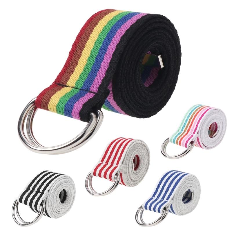 Nuevo 1 Pc mujeres cintura cinturón de hebilla de Metal doble anillos de Nylon correa de lona de moda Casual cintura 5 colores de alta calidad