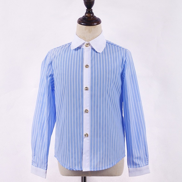 Top Quality Child Light Blue Shirt Long Sleeve Shirt For Baby Boy Or
