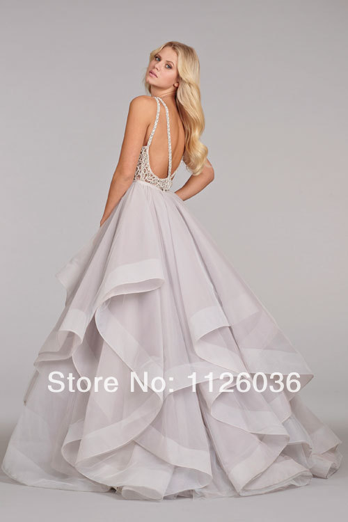 Sexy Custom hayley paige Wedding Dress Scoop Neck Sheer Top with Crystals  and Beads Backless Ruffles Tiered Organza Bridal Gown-in Wedding Dresses  from ... 7bdc53e911dd