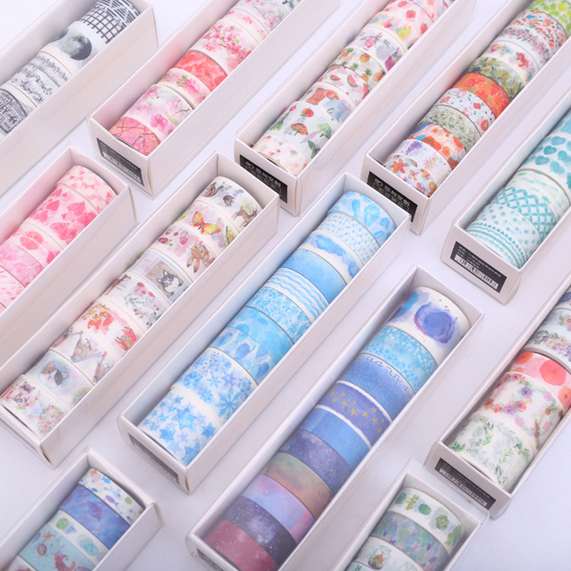 9 Pcs / Set Washi Tape Starry Sky Masking Tape Kawaii Washitape Christmas Stickers Stationery Scrapbooking School Tools(China)