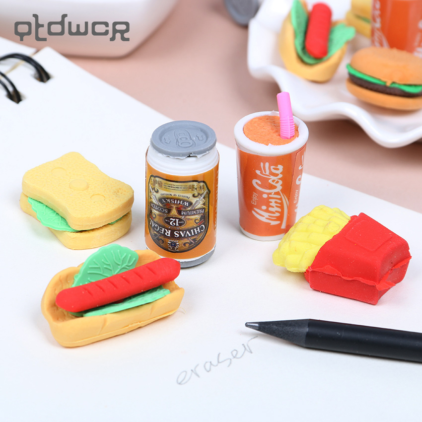 6PCS/Set School Office Novelty Creative Kawaii Hamburger Food Drink Coke Rubber Eraser Set