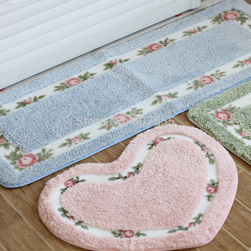 Bedroom Carpet Cute Flower Print Pastoral Heart shape Rectangle Tapete  floor Absorbent Rug red round Non. Popular Country Decor Rugs Buy Cheap Country Decor Rugs lots from