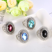 Fashion Carved Silver Ring with Stone for Women Vintage Multicolor Semi-precious Stones Finger Rings Jewelry