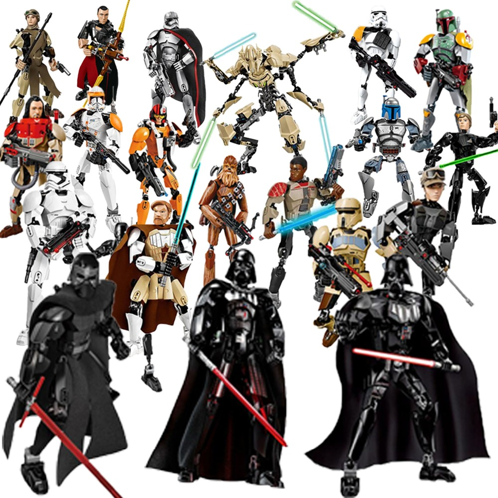 28 Style Star War The Last Jedi Buildable Action Figure Rey Kylo Ren Luke Skywalker Building