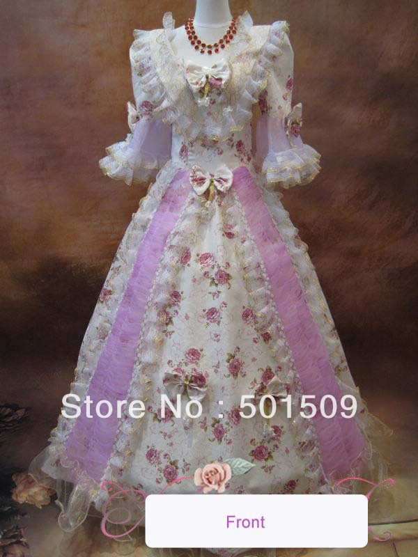 Medieval Renaissance rose lace Gown queen Dress stage costume Victorian Gothic Marie Antoinette civil war Colonial