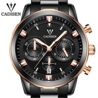 New 2018 Hot CADISEN Quartz Mens Watch Top Luxury Brand army Watches Waterproof Sport Military Stainless steel Wristwatches Quartz Watches
