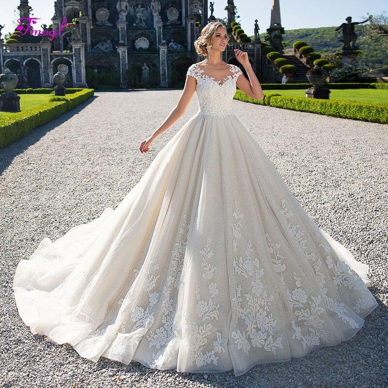 Fmogl Vestido de Noiva Scoop Neck Cap Sleeve Ball Gown Wedding Dress 2019 Gorgeous Appliques Lace