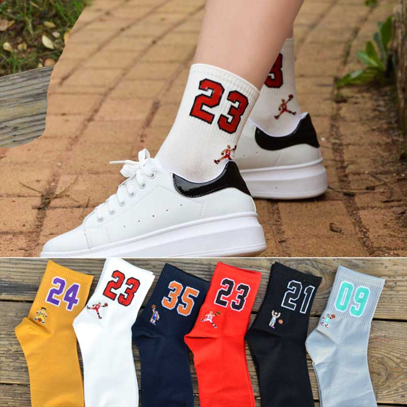 High Quality Fashion Men's Breathable Basketball Socks Elite Thick Sports Socks Unisex Harajukumen's happy Funny Embroider socks 1