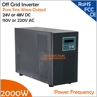 Power Frequency 2000W 24V or 48V DC to AC 110V or 220V Pure Sine Wave Off Grid Inverter with City Grid Charge Function