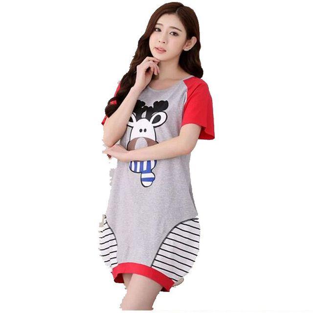 Women Summer Sleepshirts Short sleeve Cotton Sleepshirts Leisure Loose Big yards Sleepshirts New Style Printing Sleepshirts 2572