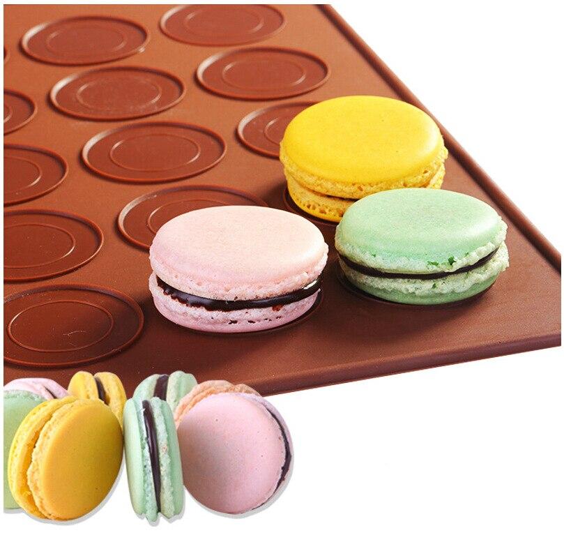 2-Pack francia Macaron macaroon szilikon sütőlap mat muffin DIY csokoládé cookie penész mód - 48 kapacitás (kerek)