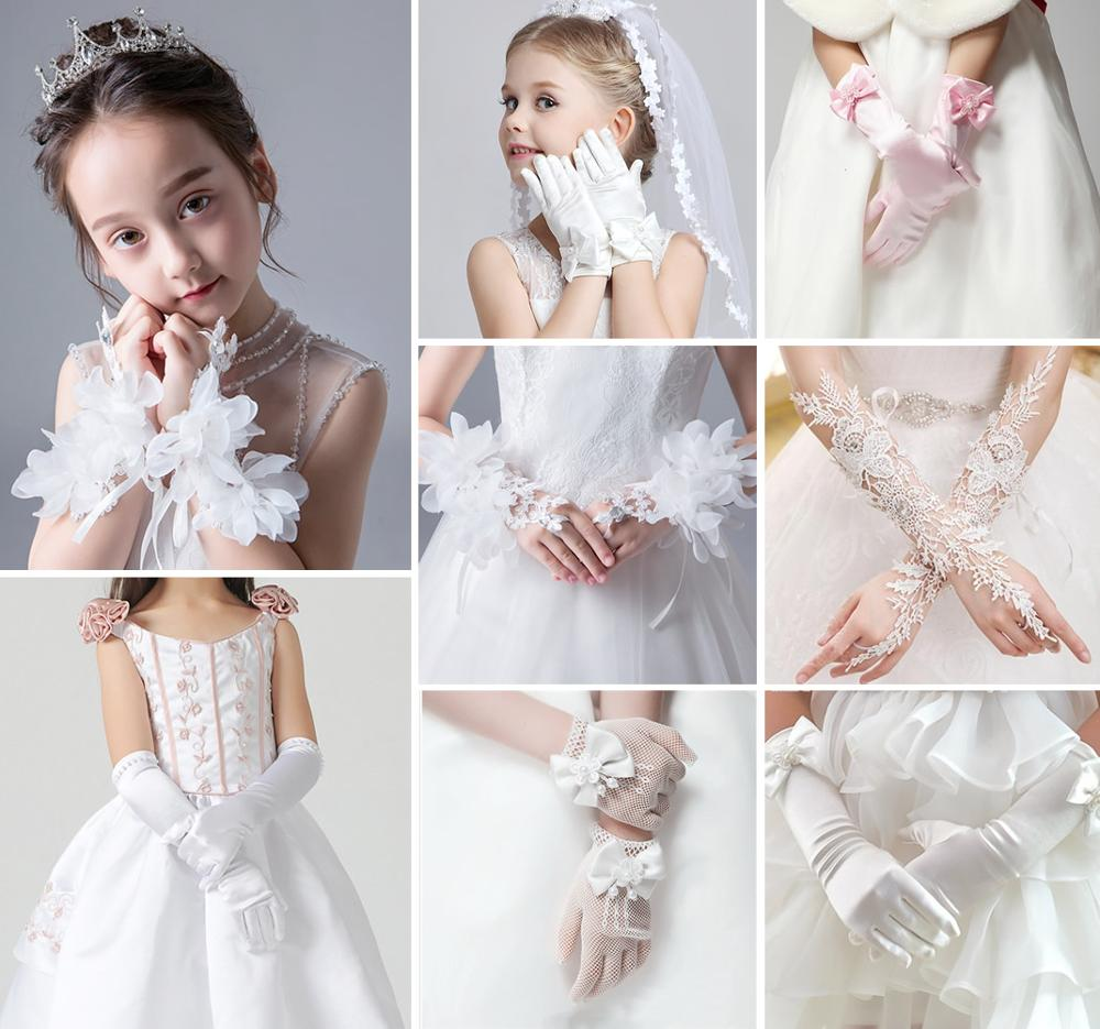 Kids Girls Toddler Children Bridesmaid Flower Girl Party Prom Evening Satin Lace White Flower Gloves