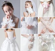 Kids Girls Toddler Children Bridesmaid Flower Girl Party Prom Evening Satin Lace White Gloves