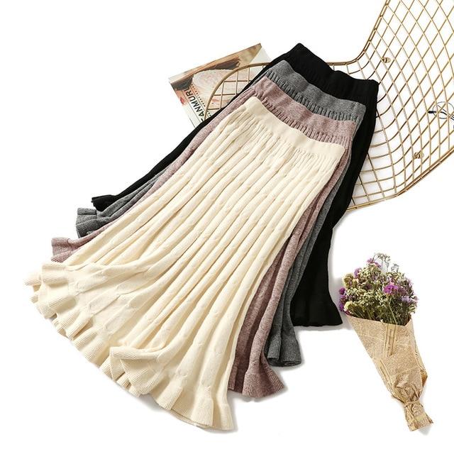 Falda larga de suéter de Invierno para mujer 2018 faldas plisadas midi con volantes maxi de punto de cintura alta cálida elegante Saias Jupe Femme