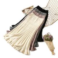 Women long sweater skirt Winter female 2018 ruffle midi pleated skirts maxi knitted high waist warm elegant Saias Jupe Femme