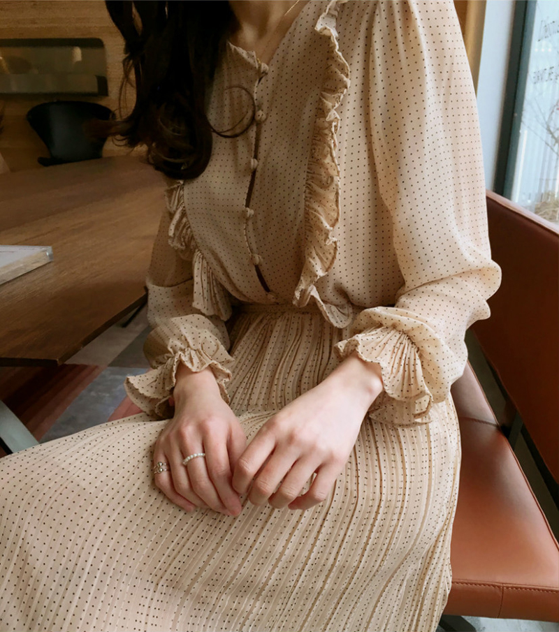 BGTEEVER Vintage O-neck Ruffles Chiffon Women Dress Flare Sleeve Polka Dot Lace Up Female Dress Two Layers Pleated Vestidos 8