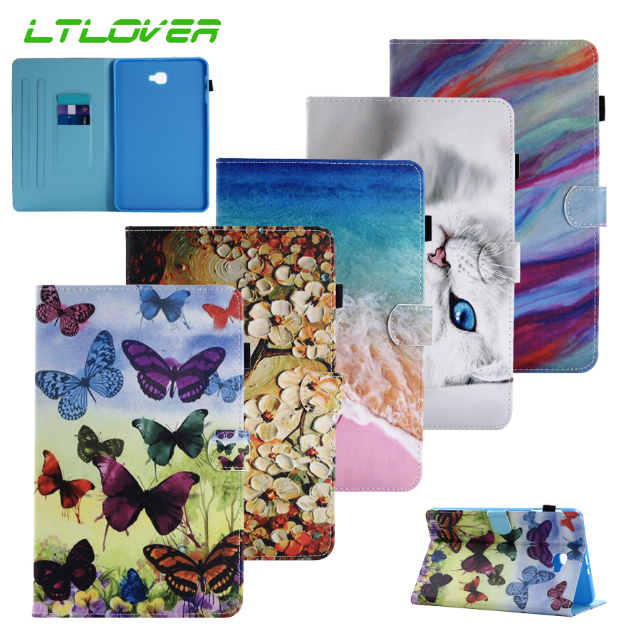Fashion Smart Butterfly Flower Stand Leather Cover For Samsung Galaxy Tab A A6 10.1 2016 T585 T580 Tablet Case For Samsung T580