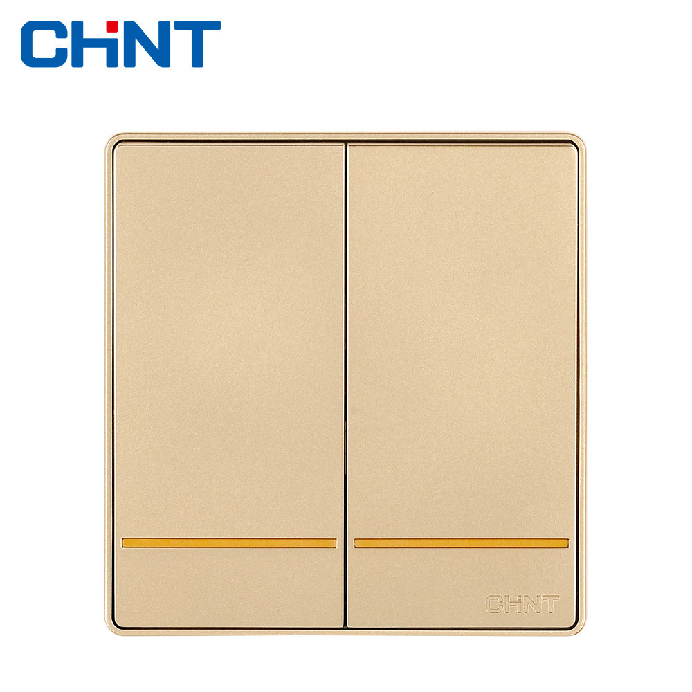 цена на CHINT Electric Push Button Switch Plates NEW2D Large Panel Wall Switch Two Gang One Way 16A Steel Frame