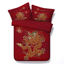 Traditional Chinese Wedding Bedding Sets Red 3D Dragon Comforter Cover Single Full Queen King Sizes Bed Linen 3PCS Girl(China)