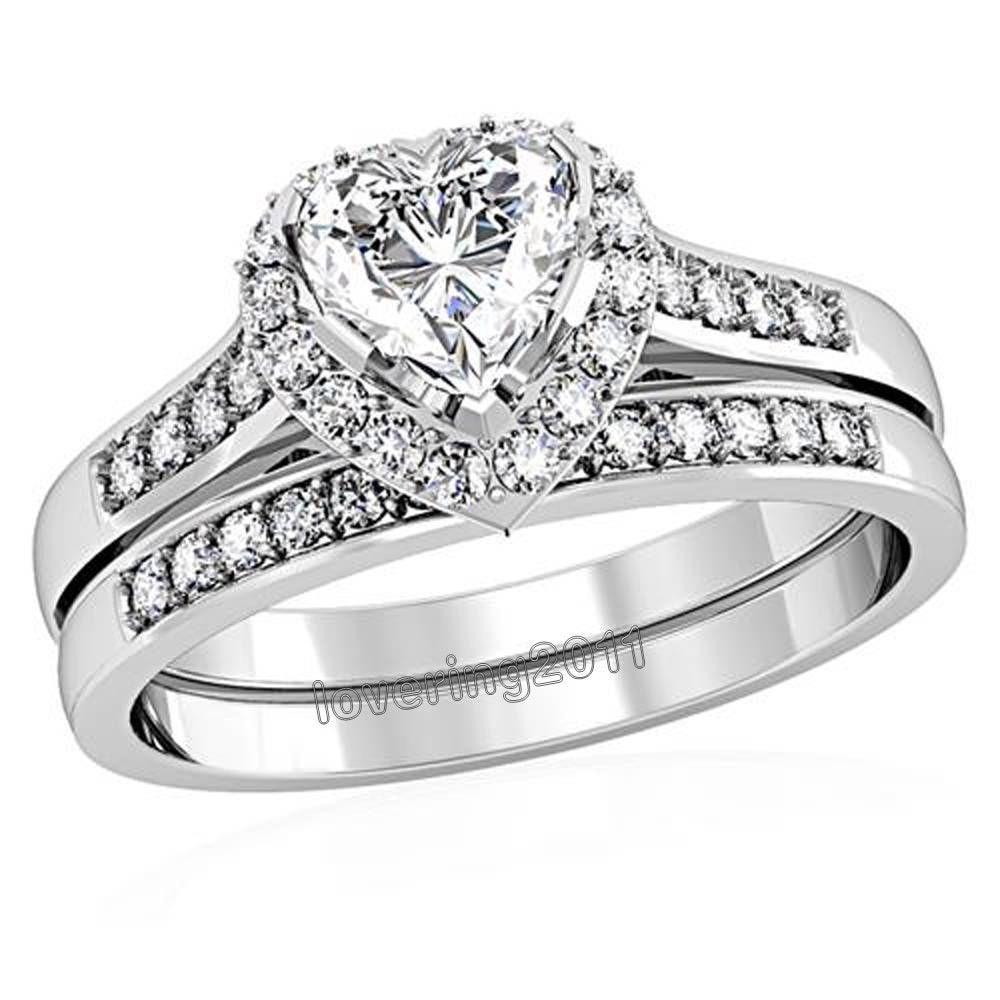WomensAAACubicZirconiaPrincessCutSterlingSilverEngagementWeddingRingSet cz wedding sets Women s AAA Cubic Zirconia Princess Cut Sterling Silver Engagement Wedding Ring Set