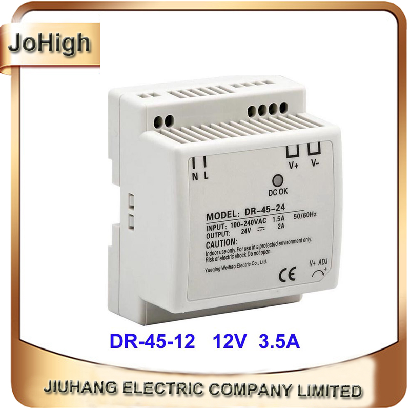 45W <font><b>12V</b></font> <font><b>3.5A</b></font> DIN Rail DR-45-12 DIN Rail Switching <font><b>Power</b></font> <font><b>Supply</b></font> image